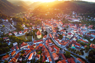 Town of Samobor aerial burning sunset view