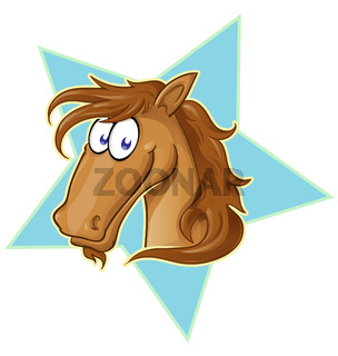 Brown Horse face  cartoon . Vector Illustration on star