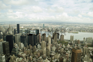 Panoramic Bird Eye View Of Midtown Manhattan And New Jersey Across The Hudson River, New York