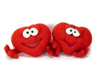 Two wool red cartoon hearts