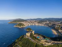 Aerial view of the Concha Bay in San Sebastian coastal city, Spain