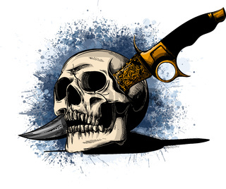 illustration Skull with a knife and white background