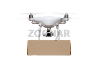 Front View of Unmanned Aircraft System (UAS) Quadcopter Drone Carrying Blank Package On White