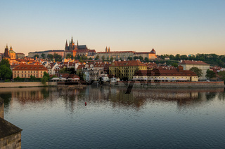 Vltava River and Prague city skyline in Czech Republic