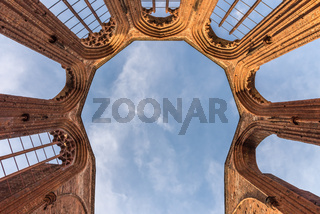 The view up in the Franciscan monastery church. Berlin, Germany