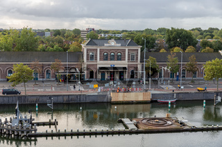 Dutch railway station Middelburg with construction site new canal bridge