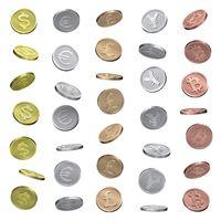 Coins of dollar, euro, pound, yen and bitcoin