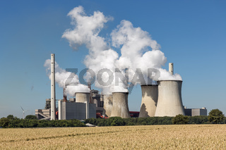 Coal-fired power plant near lignite mine Garzweiler in Germany