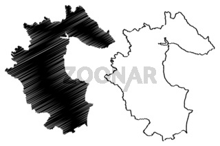 Louth County Council (Republic of Ireland, Counties of Ireland) map vector illustration, scribble sketch Louth map