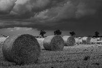 Strohballen auf einem abgeernteten Getreidefeld bei Gewitterstimmung