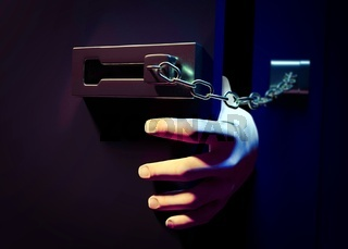 Entering a door with chain at night. 3d illustration