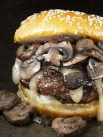 rustic american mushroom cheese hamburger
