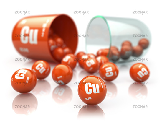 Capsule with copper CU element Dietary supplements. Vitamin pill.