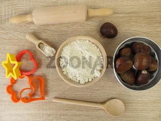 Backen mit Kastanienmehl aus Esskastanien, Maronen