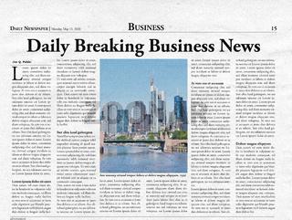 Business Titelseite einer fiktiven Zeitung