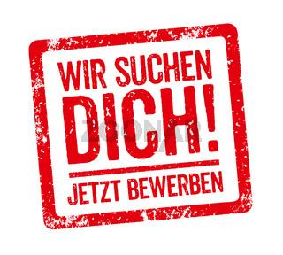 Red Stamp - German Slogan Wir suchen Dich (We want you)