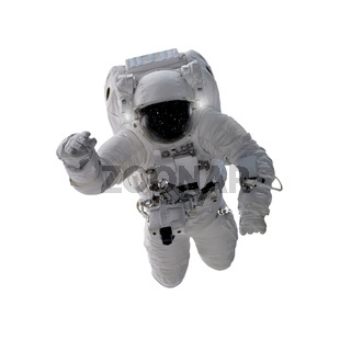 Floating astronaut isolated on white background, elements from NASA