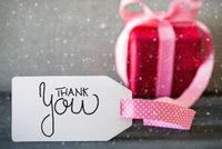 Pink Christmas Gift, Calligraphy Thank You, Snowflakes
