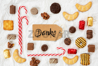 Candy Christmas Collection, Label, Calligraphy Danke Means Thank You