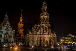 Catholic Court Church Katholische Hofkirche in the center of old town in Dresden at night
