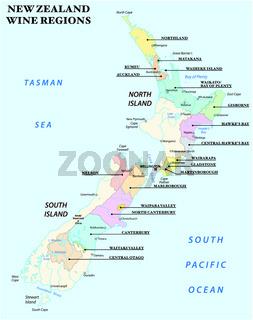 Vektorkarte mit den wichtigsten Weinregionen Neuseelands