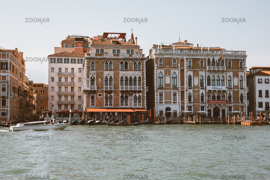 Panoramic view of Grand Canal (Canal Grande) with active traffic boats