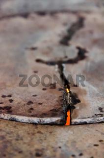 shattered metal cauldron