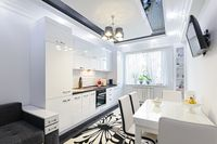 Luxury modern black and white kitchen interior