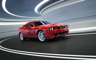 Front angle view of a generic red brandless American muscle car in a tunnel with motion blur . Transportation concept . 3D Rendering .