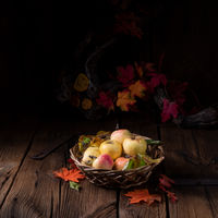 fresh and tasty organic apples in a basket
