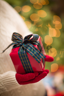 Woman Wearing Red Mittens Holding Christmas Gift Against Decorated Tree and Lights