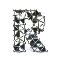 Wire low poly black metal Font Letter R 3D