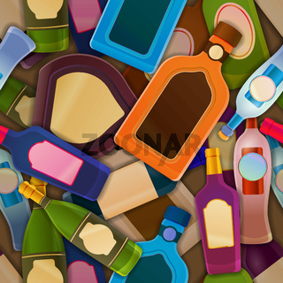 Different glossy bottles with alcohol, seamless pattern