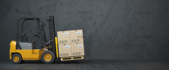 Forklift truck with cardboard boxes on  dirty wall background.