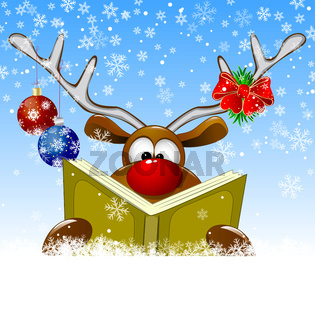 Reindeer reading a book