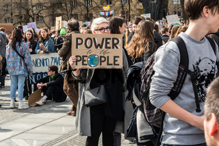 Slovenia, Ljubljana 15.03.2019 - Young protestors with banners at a Youth strike for climate march