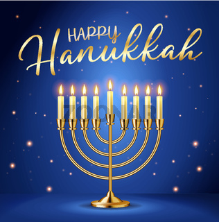 Happy Hanukkah greeting card with gold inscription and Golden realistic menorah, candlestick with burning candles