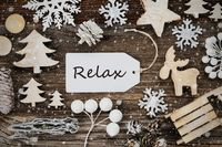 Label, Frame Of Christmas Decoration, Text Relax, Snowflakes