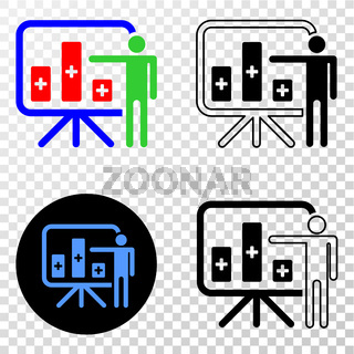 Bar Chart Presentation Vector EPS Icon with Contour Version