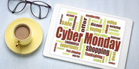 Cyber Monday word cloud on tablet
