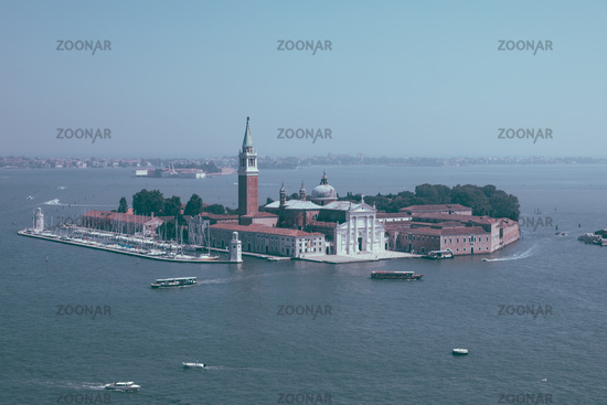 Panoramic view of San Giorgio Maggiore Island from St. Mark's Campanile