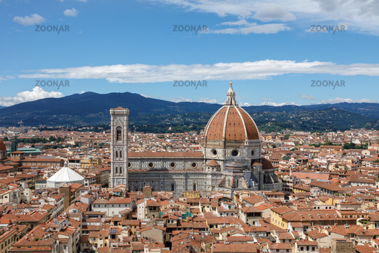 Aerial panoramic view of Florence city and Cattedrale di Santa Maria del Fiore