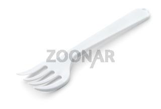 White plastic disposable fork