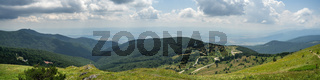 Panoramic view of Shipka Pass from Buzludzha Peak. Shipka Pass - a scenic mountain pass through the Balkan Mountains in Bulgaria.