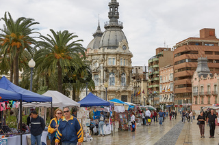 People visiting and shopping at the market in Cartagena in Spain