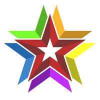Multicolor 3d star symbol or icon. Geometric style.