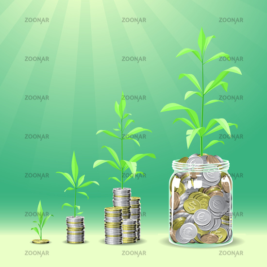 Coins stacks with a plants growing on the top.