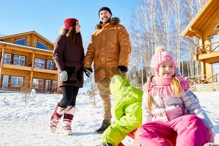 Family enjoying beautiful winter day