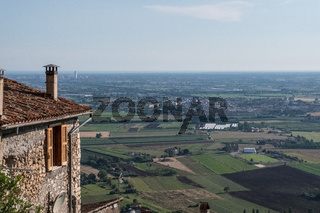 View of the valley from an ancient stone medieval residence.