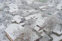 privat buildings snow winter aerial